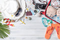 Prepare accessories and travel items for summer Royalty Free Stock Photo