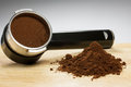 Prepare espresso an coffee with ground coffee and coffee maker Stock Photography