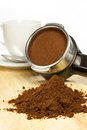 Prepare espresso an coffee with ground coffee and coffee maker Stock Images