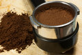 Prepare espresso an coffee with ground coffee and coffee maker Stock Image