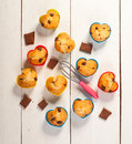 Prepare muffins. Muffins in colorful silicone molds Stock Photography