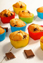 Prepare muffins. Muffins in colorful silicone molds Royalty Free Stock Photo