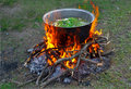 Prepare tasty food over a campfire Royalty Free Stock Images