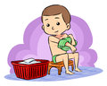 Prepare to take bath a boy put off his clothes a Royalty Free Stock Photo