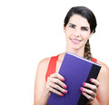 Always prepared college student smiling widely with book in her arms Royalty Free Stock Photos