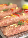 Prepared kebab ready to cook butchery Royalty Free Stock Images
