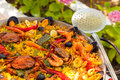 Prepared paella spanish with crabs and shrimps Royalty Free Stock Images