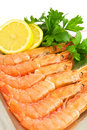 Prepared prawns Stock Images