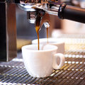 Prepares espresso in his coffee shop; close-up Royalty Free Stock Photo