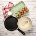 Preparing batter for pancakes eggs flour milk Royalty Free Stock Images