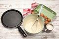 Preparing batter for pancakes eggs flour milk Royalty Free Stock Image