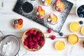 Preparing berries tartlets Royalty Free Stock Photo