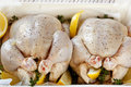 Preparing Chickens for Roasting Royalty Free Stock Images