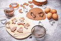 Preparing christmas cookies baking ingredients for Royalty Free Stock Images