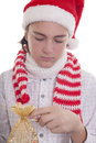 Preparing the Christmas present Royalty Free Stock Image