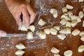 Preparing gnocchi Royalty Free Stock Photo