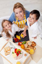 Preparing healthy breakfast together - top view Royalty Free Stock Photography