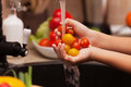 Preparing a healthy salad - child hands washing cherry tomatos, Royalty Free Stock Photo