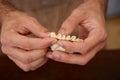 Preparing homemade dim sum asian dumplings hands Stock Photo