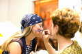 Preparing make up to actress before scene. Pencil Royalty Free Stock Photography