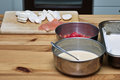 Preparing mozzarella in the polish kitchen on the polish table a delicious casserole casserole ingredients french pastry tomato Stock Images