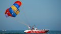 Preparing the parasail chute men parasil before take off Stock Photography