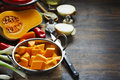 Preparing pumpkin, onions and sweet peppers for cooking Royalty Free Stock Photo