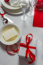 Preparing the table for christmas eve in home Royalty Free Stock Images