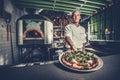 Preparing traditional italian pizza Royalty Free Stock Photo
