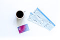 Preparing for trip. Tickets, bank card on white background top view copyspace