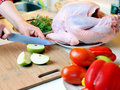 Preparing turkey stuffing Royalty Free Stock Photo