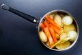Preparing vegetable stock bouillon in a pot Royalty Free Stock Photo