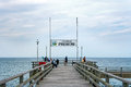 Prerow pier with sign germany june showing ostseebad the sea spa town is a famous tourist destination in germany Royalty Free Stock Images