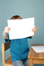 Preschool child showing art blank page concept of kids education learning and a Stock Photos