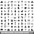 100 preschool education icons set, simple style