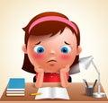 Preschool girl kid vector character bored studying school homework