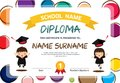 Preschool Kids Diploma certificate colorful background design template vector Illustration.