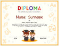 Preschool Kids Diploma certificate design template Royalty Free Stock Photo
