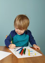Preschool kids education concept of learning and art child drawing in class Royalty Free Stock Images