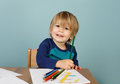 Preschool kids education concept of learning and art child drawing in class Stock Photo