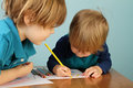 Preschool kids education concept of learning and art child drawing in class Stock Image