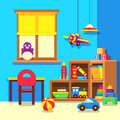 Preschool kindergarten classroom with toys cartoon vector illustration Royalty Free Stock Photo
