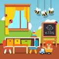 Preschool kindergarten classroom with toys