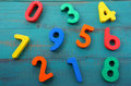 Preschool learn to count mixed numbers from one to nine Royalty Free Stock Photo