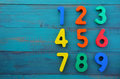Preschool learn to count numbers in order from one to nine Royalty Free Stock Photo