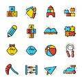 Preschool related line coloured vector icon set