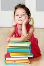 Preschooler with book Stock Photo