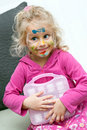 Preschooler child with face painting Stock Photo
