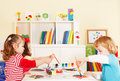 Preschoolers in the classroom creative children choosing a color Royalty Free Stock Photo