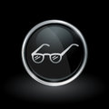 Prescription eye glasses icon inside round silver and black embl Royalty Free Stock Photo